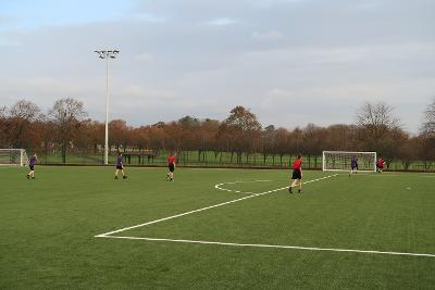 Pupils playing on Barrhead High sports pitch